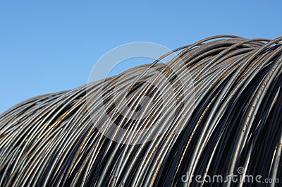 Heap of rusty steel wire for building. Close up