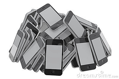Heap of smartphones