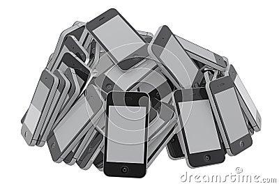 Heap of smartphones