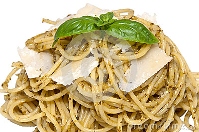 Heap of spaghetti with fresh pesto