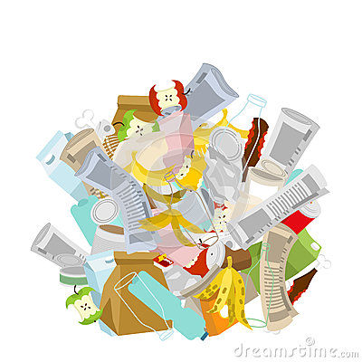 Free Heap Trash Isolated. Pile Rubbish. Garbage Stack. Litter Background. Peel From Banana And Stub. Tin And Old Newspaper. Bone And P Stock Photos - 86932503