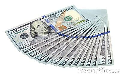 Heap of U.S. dollars on white background