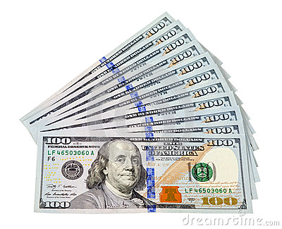 Heap of U.S. dollars on white background