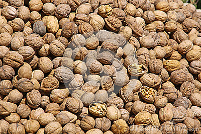 Heap of walnuts on a market stall