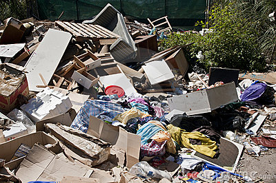 Heaps household rubbish dumped refuse