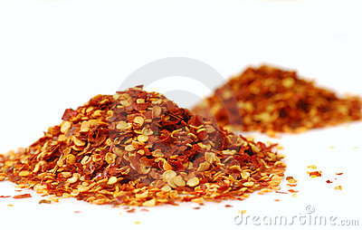 Heaps of red pepper flakes