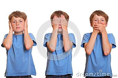 Hear no evil - see no evil - speak no evil Stock Photo