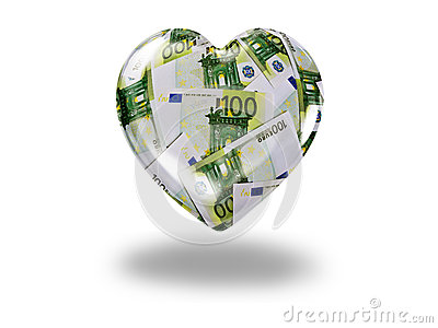 Heart with 100 euro bills