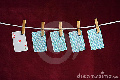 Heart ace and four cards