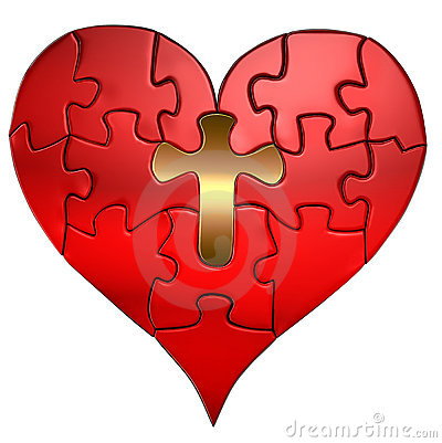 Free Heart And Cross Puzzle Orthographic Royalty Free Stock Photography - 15246967