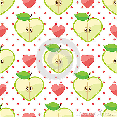 Heart of apples,heart,polka dot in seamless patter