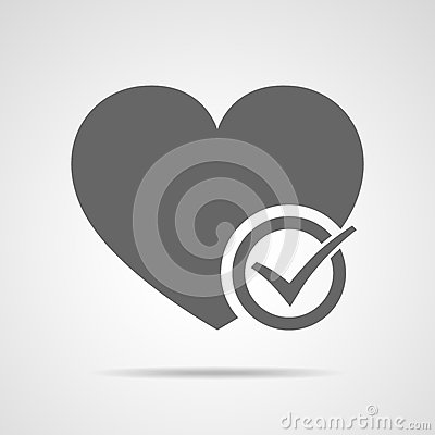 Heart with approved check mark. Vector illustration. Cartoon Illustration