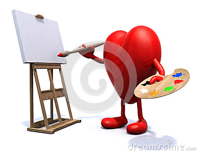 Heart with arms and legs painter