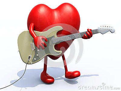 Heart with arms and legs playing electric guitar