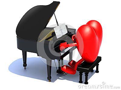 Heart with arms and legs playing a piano