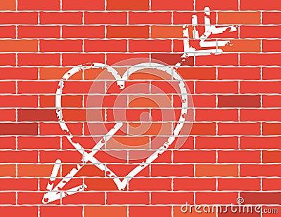 Heart and arrow on brick wall.