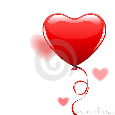 Heart as air balloon with ribbon