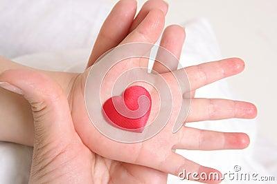 Heart in baby`s hand