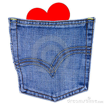 Heart in back jeans pocket