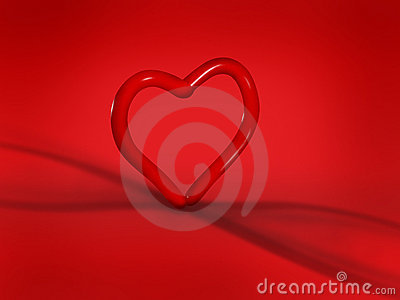 Heart balloon on red background