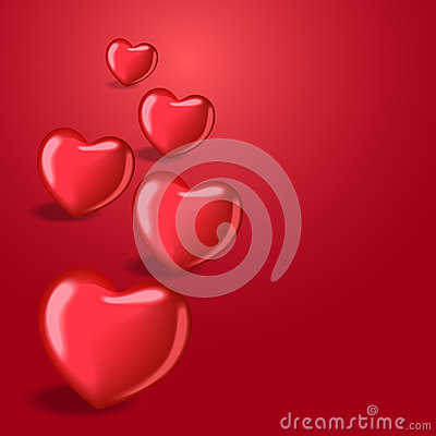 Heart balloons with shadow. Beautiful template for your design. Cartoon Illustration
