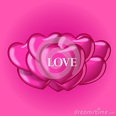 Heart balloons with word love. Beautiful template for your design. Cartoon Illustration