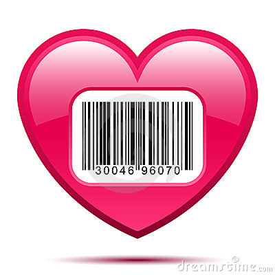 Heart with bar code label