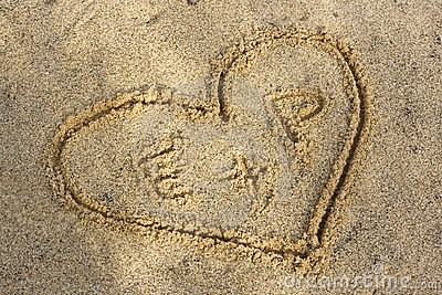 heart on a beach