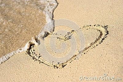 Heart on beach