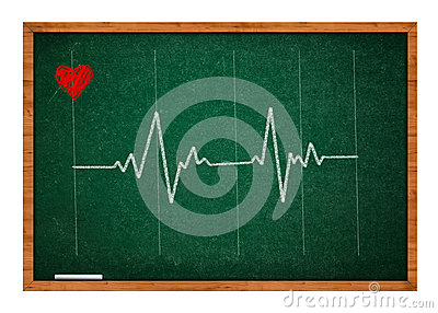 Heart beat on chalkboard