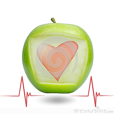 Heart beat with green apple