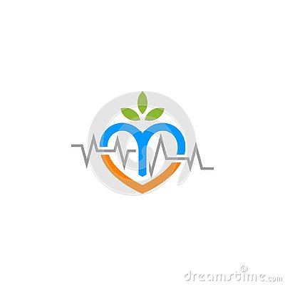 Nature heart beat love logo. Stock Photo