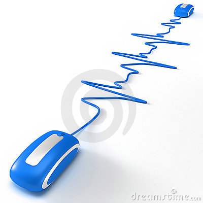 Heart beating in internet blue