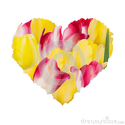 Heart of beautiful flowers with tulips. EPS 10