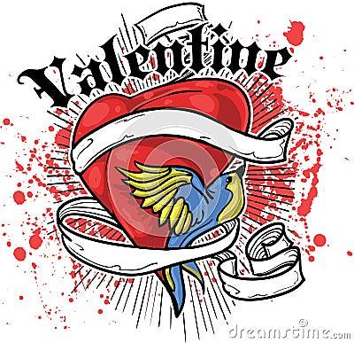 Heart and bird t-shirt design