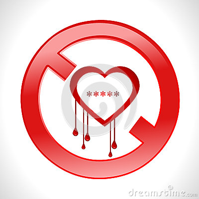 Heart bleed openssl bug virus bleeding heart restr Vector Illustration