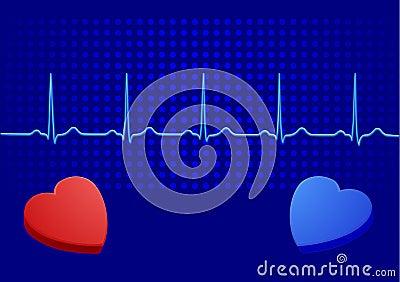 Heart& blue electrocardiogram