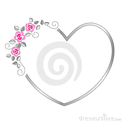 Silver heart valentines day border / frame with beautiful pink roses.