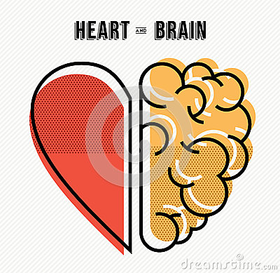Heart and brain concept design in modern style Vector Illustration
