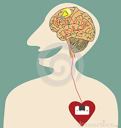 Heart, Brain and Idea connected with power plug