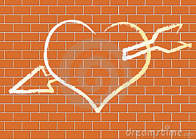 Heart with on a brick wall.