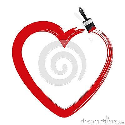 Heart and brush