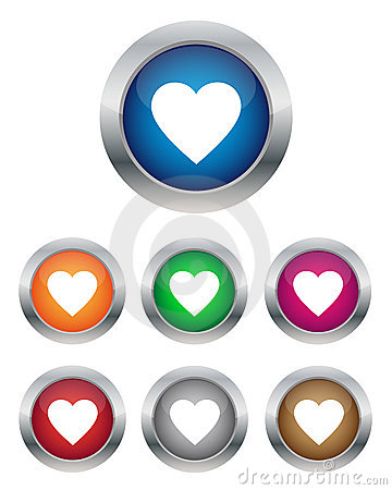 Free Heart Buttons Royalty Free Stock Photo - 23063985