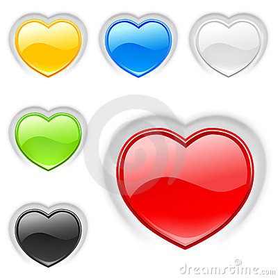 Heart (buttons) icons set. Valentine.