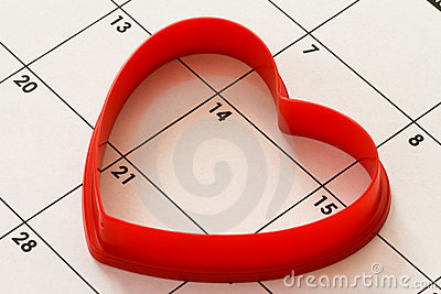 Heart on calendar
