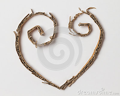 Heart from cardboard cuttings