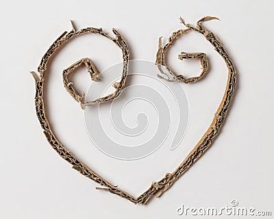 Heart from cardboard cuttings