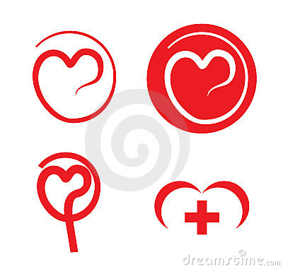 Heart care medical logos