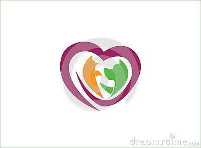 Heart caring pets, dog and cat, Herz und Haustiere for logo design Cartoon Illustration