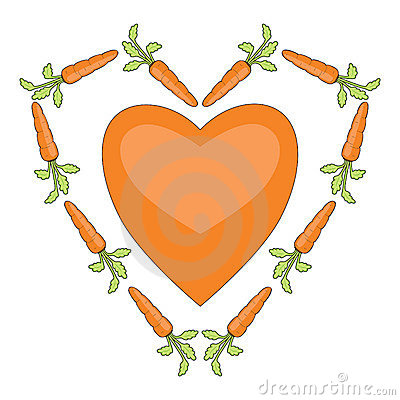 Heart with carrots